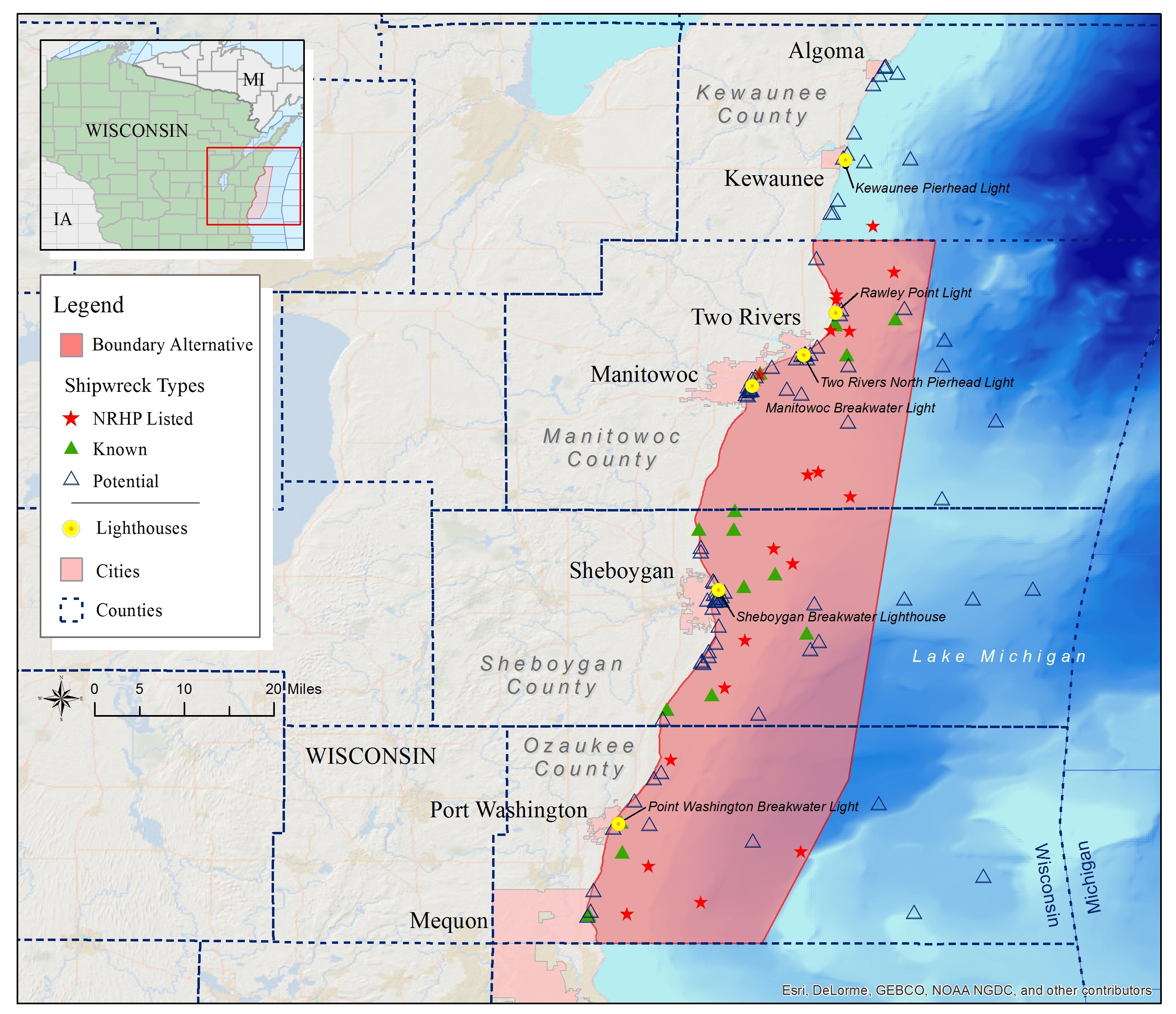 Lake Michigan Could Become Home To National Marine Sanctuary - Lake michigan map
