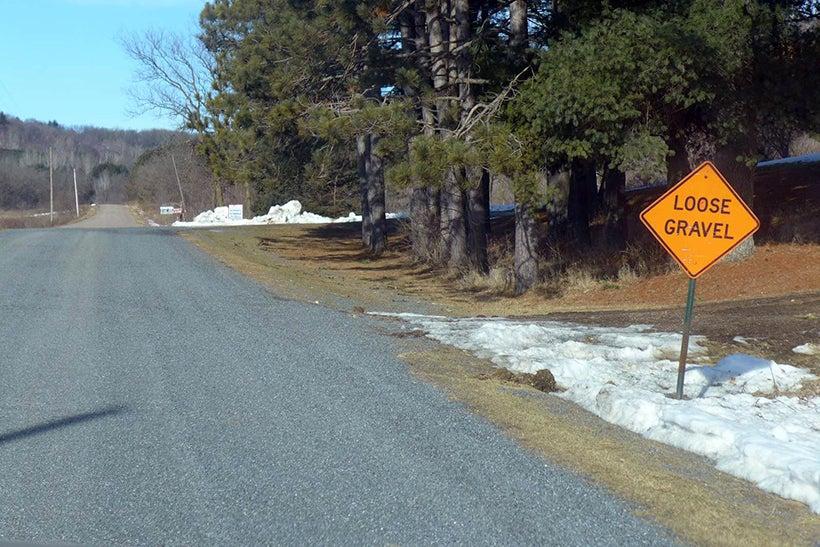 loose gravel ahead