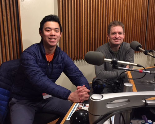 Cellist Alex Wu and pianist Andrew Armstrong in the WPR Studios