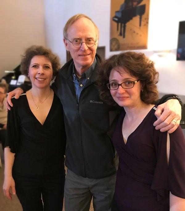Pianists Stanislava Varshavski and Diana Shapiro with Norman Gilliland