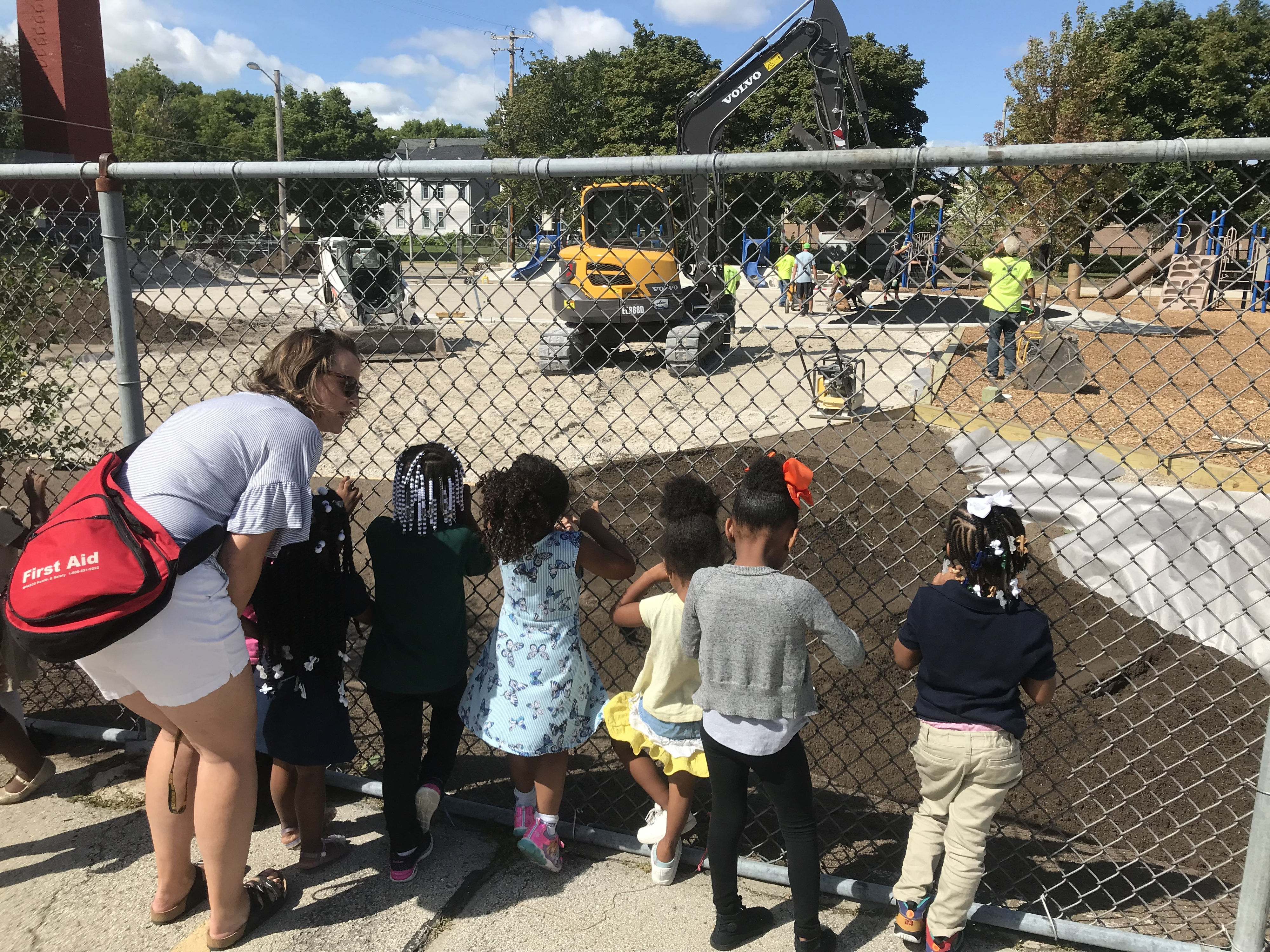 Students from Starms Early Childhoodlook at their playground