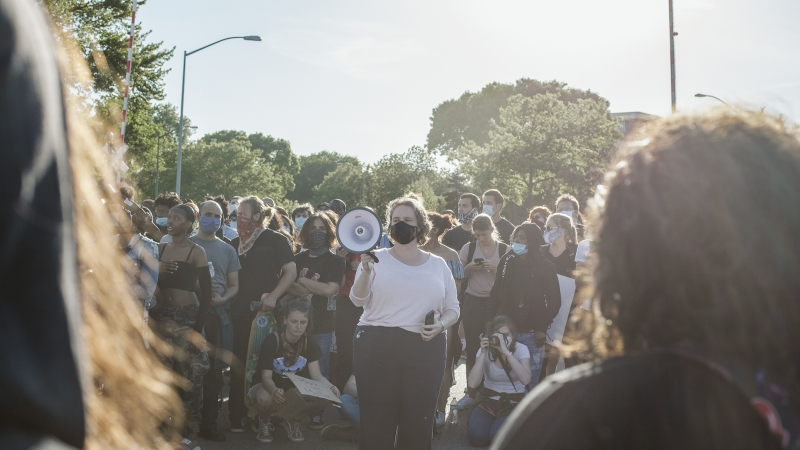 Madison Mayor Satya Rhodes-Conway addresses a group of protesters