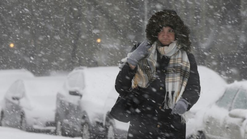 A commuter walks to a bus stop as snow falls this winter