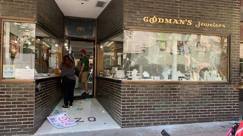 Smashed store window
