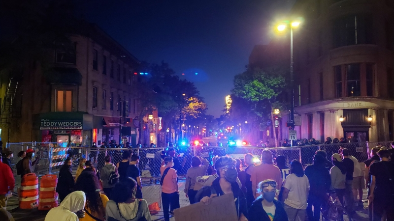 Protesters separated from Madison police after demonstration in State Street.