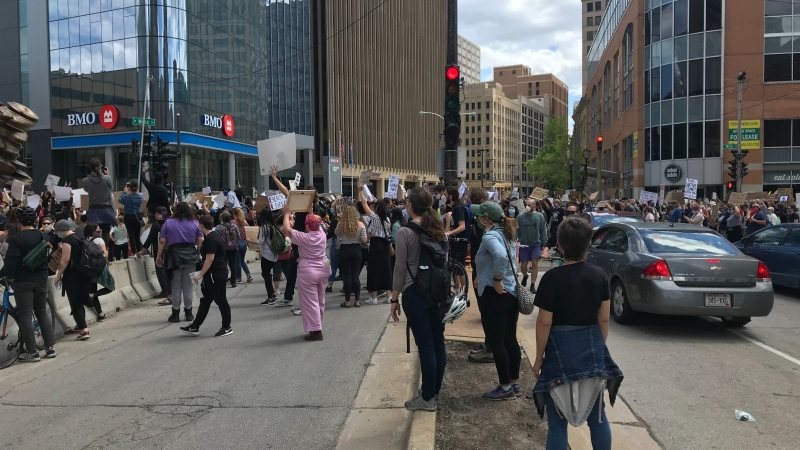 Protestors march in downtown Milwaukee