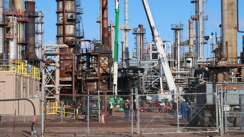 Demolition and cleanup efforts are ongoing at the Husky Energy oil refinery