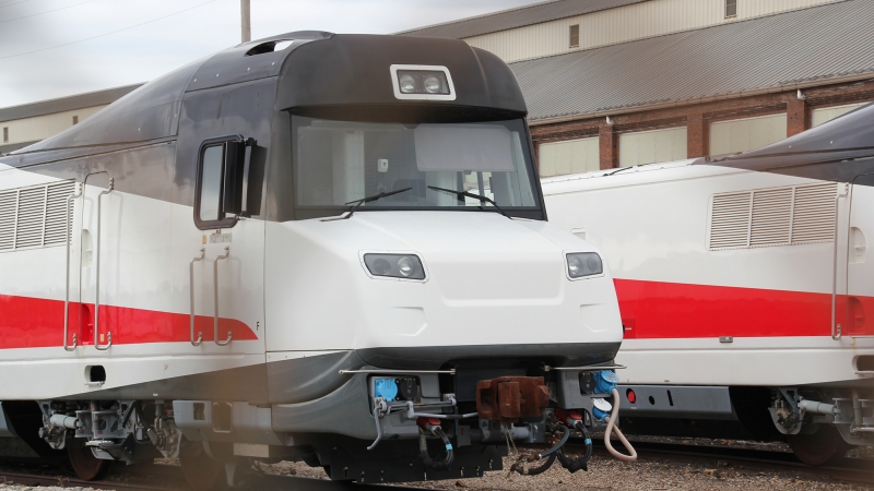 Wisconsin's Talgo trains sit at an Amtrak facility in Indiana