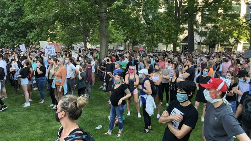 Thousands gathered on the lawn of the Capitol Square after a march honoring George Floyd ended in Madison on Sunday, June 7.