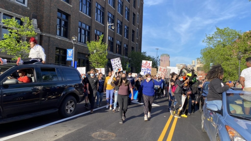 Hundreds of protesters gathered at Milwaukee's Municipal Court building on Sunday evening.