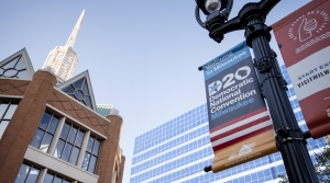 a sign on a lamp post advertises the DNC in Milwaukee