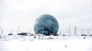 Glass globe at the Foxconn campus in Mount Pleasant
