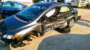 Honda after it was hit by a drunken driver