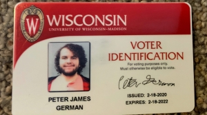 University of Wisconsin-Madison student Peter German's student voter ID