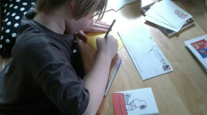 Child writes a letter