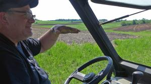LaVon Felton shows where he planted 48 acres of industrial hemp