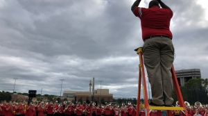 UW-Madison's new marching band director Corey Pompey at rehearsalahead of the football team's first home game of the 2019 season againstCentral Michigan.