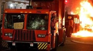 A garbage truck is set ablaze in Kenosha