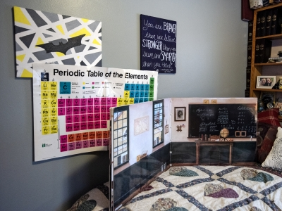 A bed with posters showing the periodic table of elements, a classroom scene, and other artwork are hung above a bed