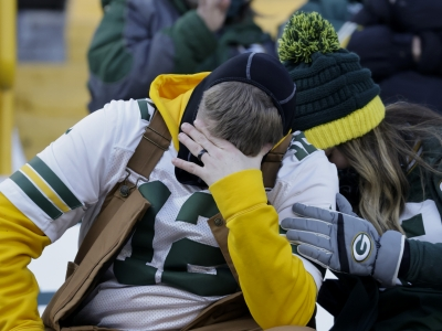 Packer fans at the game between the Tampa Bay Buccaneers and Green Bay Packers