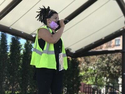 Carmyn Hoen speaks to protesters before the George Floyd March in Wausau
