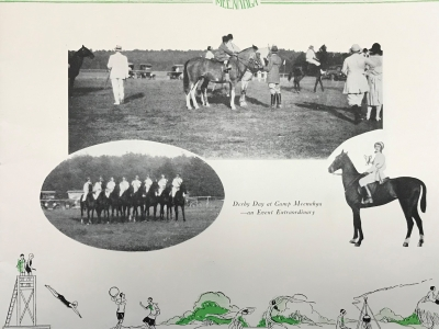 Camp Meenahga's 1928 brochure included images of Saddlebred horses used to teach English riding