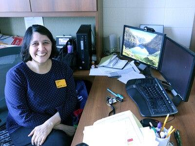 Shubhangi Stalder at her desk