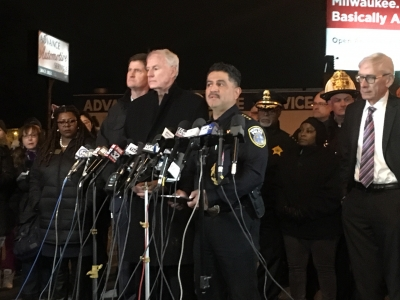 Milwaukee Police Chief Alfonso Morales addresses the crowd at a news conference