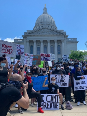Demonstrators gather in Madison