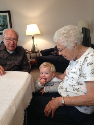 Wilford and Mary Kepler with their grandson, Dax
