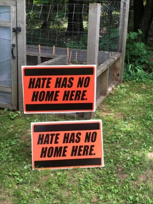 """Chelsea Romaker created """"Hate has no home here"""" signs"""