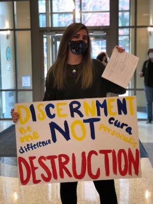 Marquette student Brooke McArdle at a student sit-in