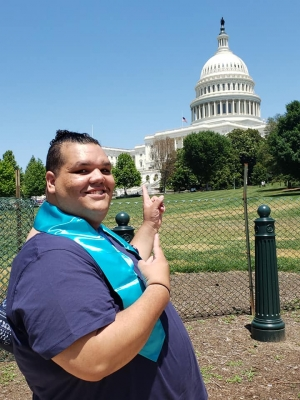 "Dosha ""DJay"" Joi outside the U.S. Capitol in June 2019. The trip was organized by the National Foster Youth Institute."