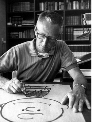 Cartoonist Charles Schulz draws a picture of his cartoon character Charlie Brown in his Sebastopol, Calif. home in this 1966 file photo