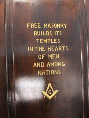 An inscription on a door in the Rhinelander Masonic Temple