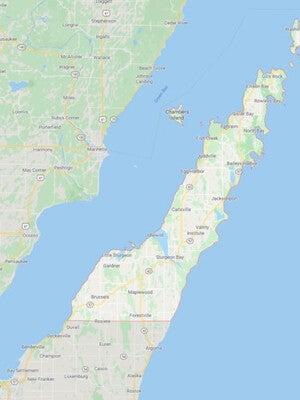 70-mile-long Door County peninsula