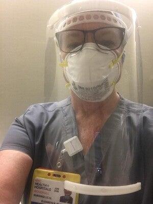 Nurse Elizabeth Riley while treating COVID-10 patients in Brooklyn