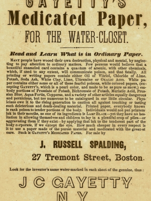 Advertisement for Joseph Gayetty's toilet paper invention