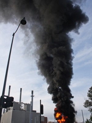 Thick, black smoke blankets Madison's east side