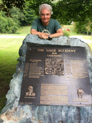 Steve Paulson in Cavendish, Vermont, near a marker remembering Phineas Gage.
