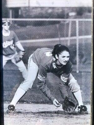 Melissa Faliveno playing softball as a freshman at Mount Horeb High School. Courtesy of Melissa Faliveno