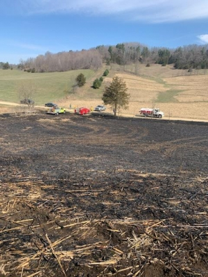 Pictured are the remnants of a debris-burning fire near a dry, grassy field in Richland County on April 18, which burned a little more than an acre