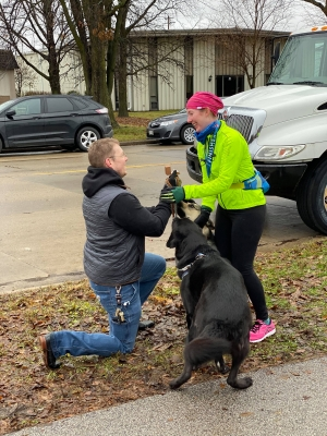 Rockwell Rice proposes to Rachel Kreif after she finished the Last Call Run & Walk