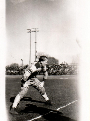 Herb Eggert poses for a photo on the Little Chute Flying Dutchmen's field