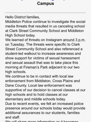 A message from the school district that talks about the threats, made on Instagram, specific to Clark Street Community School and a protest.