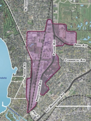 A 425-acre stretch of land is outlined in purple on a map of Madison to indicate the area the city wants to redevelop.