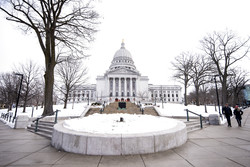 A snowy scene at the Wisconsin State Capitol