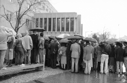 People wait outside of a hospital waiting on news about Pres. Reagan's condition in 1981
