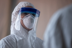 Health care worker at a COVID-19 testing site