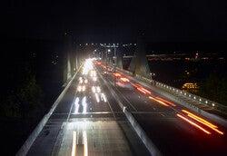 Traffic navigates the St. Croix Crossing near Hudson, Wis.